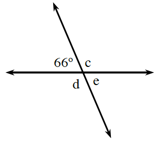 Two intersecting lines, with the following angles labeled, clockwise about the point of intersection: 66 degrees, c degrees, e degrees, and d degrees.