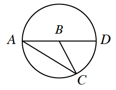 Circle with points, A, C, and D, on the circle, and B, in the center. Line segments connect B to all 3 points on the circle.