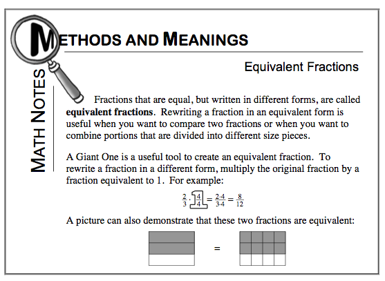 Mathnote: equivalent fractions