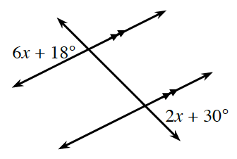 Decreasing Transversal line crosses 2 increasing parallel lines. At the intersection of the top parallel line and the transversal, exterior left is, 6, x + 18 degrees. At the intersection of, the bottom parallel line and the transversal, exterior right is, 2, x + 30 degrees.