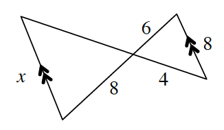 Two parallel line segments, length, x, and 8, have at each end, lines crisscrossing to the opposite end of the other parallel line segment forming two triangles when the lines intersect. one triangle has sides, x, 8, and unknown. The other triangle has sides 6, 8, and 4. Two of the sides, 8, and 6 are on the same line between the two triangles.