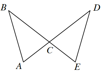 Two lines A, D and B, E intersect at C, creating Triangle A, B ,C, and triangle C, D, E.