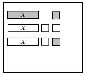 An equation mat with the following tiles: Row 1:1 positive x and 1 positive unit. Row 2, 1 negative x, and 2 negative units. Row 3: 1 negative x, 1 positive unit, 1 negative unit.