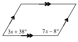 A parallelogram with the left bottom angle labeled 3 x + 38 degrees and the right bottom angle labeled 7 x minus 8 degrees.