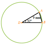 Circle, with center, D, points, A, &, B, line segments from, D, to, A, from D, to, B, from, A, to, B, angle, A, D, B, labeled 32 degrees, chord, A, B, labeled 9 mm.
