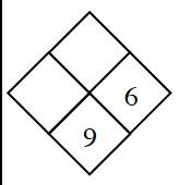 Problema de diamante: izquierda, en blanco; derecha, 6; arriba, en blanco; abajo, 9