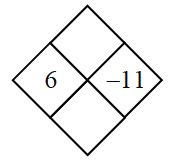 Diamond Problem. Left 6, Right negative 11, Top blank,  Bottom blank