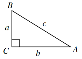 Right triangle: horizontal side, A, C, labeled, b, vertical side, C, b, labeled, a, hypotenuse side, A, b, labeled, c.