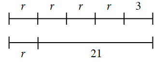 Two equal line segments. Top: 5 sections, first 4 equal sections, labeled r, last segment labeled, 3.  Bottom: 2 sections labeled: left, r and right, 21.