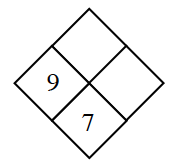 Diamond Problem. Left 9, Right blank,  Top blank,  Bottom 7