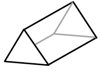 A 3 dimensional diagram, front, and right side visible. Front is an equilateral triangle. Right side is a rectangle.