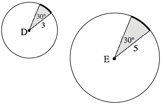Two circles: smaller Circle with center point, D and shaded sector labeled, central angle, 30 degrees, radius, 3. larger Circle with center point, E, and shaded sector labeled, central angle, 30 degrees, radius, 5.
