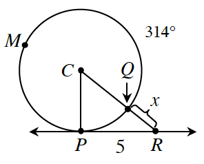 A circle is drawn with a line tangent to the circle at point, P. A line C, P, is drawn from the center of the circle to, P. Another point to the right of, P, on the circle is, Q. A line C, Q, is extended outside of the circle to point, R, where it meets the tangent line. Q, R, is labeled, x. There is a triangle C, P R drawn. Another point on the circle to the left of, P, is point, M. The arc, P, M, Q measures 314 degrees.
