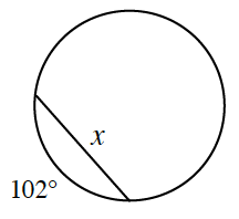 A circle is drawn with a chord, X. The smaller arc between the endpoints of chord, x, is 102 degrees.