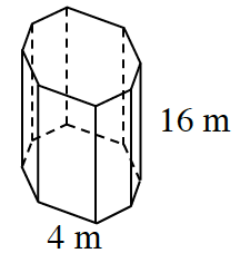An octagonal prism with a base side 4 meters and a height of 16 meters.