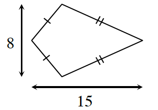 A kite with the length of 15 and a height of 8.