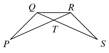 Two triangles P, Q, R, and Q, R, S, that intersect to form triangle Q, R, T. Lines Q, S, and P, R, intersect at point, T.