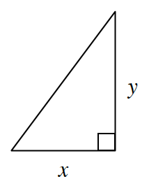 A right triangle, labeled, horizontal leg, X, and vertical leg, Y.
