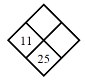Diamond Problem. Left 11, Right blank, Top blank,  Bottom 25