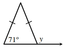 An isosceles triangle where the base line is extended to the right outside of the triangle. The left interior angle is 71 degrees and the exterior angle is labeled y.
