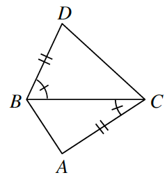 Quadrilateral A,B,D,C,, with diagonal from, B, to, C, creating 2 triangles: A,B,C, & B,C,D, labeled as follows: Side, BD, 2 tick marks, angle D,B,C, 1 tick mark, side, AC, 2 tick marks, angle, B,C,A, 1 tick mark.