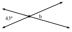 2 intersecting lines. About the point of intersection, are angles, starting at the top and going clockwise, labeled as follows: blank, B, blank, 43 degrees