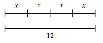 2 equal line segments. Top: 4 equal sections, each labeled x.  Bottom, labeled, 12.