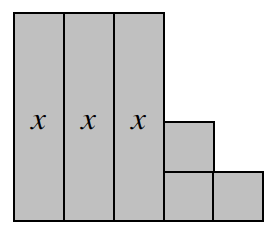 Three vertical x tiles connected side by side with a column of two unit tiles to the bottom right of the x tiles and one more unit tile bottom right of the column.