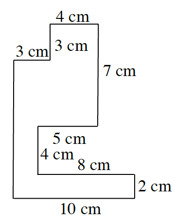 An enclosed figure: Starting at the upper left corner: right 3, up 3, right 4, down 7, left 5, down 4, right 8, down 2, left 10, and up an unknown amount, to enclose the figure.