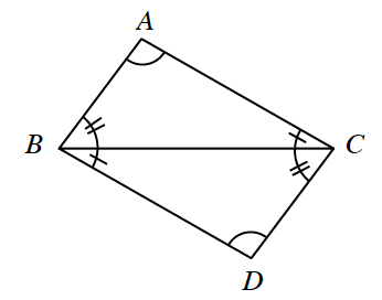 Quadrilateral, A,B,C,D, with diagonal from vertex b, to vertex C, creating 2 triangles, with angles labeled as follows: angle A,C,B, 1 tick mark, angle A,B,C, 2 tick marks, angle C,B,D, 1 tick mark, angle b,C,D, 2 tick marks.