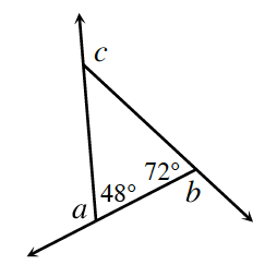 Three lines intersect each other to form a triangle. Each line extends past a vertex such that 48 degrees is an angle within the triangle and angle, a, is the external angle. 72 degrees is internal and angle, b, is external to it. Angle, c, is the external angle of the third internal angle.