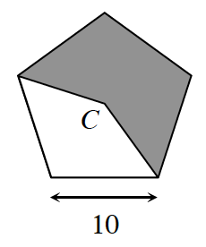 A regular pentagon with divided into 5 equal triangles about the center point, C.  Each side length of the pentagon is 10.