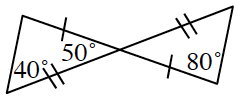 Two line segments intersect, bisecting each other showing 1 tick mark on each side of the first line and 2 tick marks on each side of the second line. A line segment is drawn at both ends creating two triangles. There are two given angles in the left triangle, 40 degrees opposite the side with 1 tick mark, and 50 degrees at the angle where the 2 triangles have a common vertex. The triangle on the right has an 80 degree angle opposite the side with two tick marks.