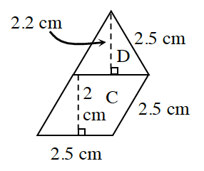 A rhombus, labeled C, and a triangle labeled D. The base of the triangle, and the top side of the rhombus, share a side. Labeled on C: bottom and right side, each 2.5 cm. Dashed line on C, connecting the top and bottom sides at right angles, labeled 2 centimeters. Labeled on D, right side, 2.5 cm, and a dashed line, From the top vertex, perpendicular to the base, 2.2 centimeters.