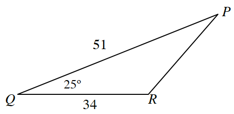 Triangle, P Q R, labeled as follows: side, Q R, 34, side, Q P, 51, angle q, 25 degrees, angle R appears obtuse.