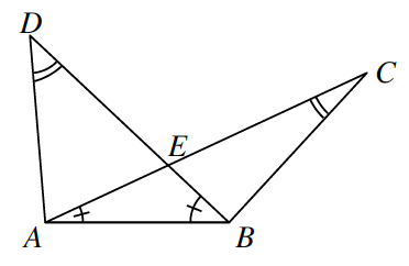 2 triangles, A,D,B, &, A,B,C, overlap, with, AC, &, BD, intersecting at point, E, creating a third internal triangle, A,E,B, labeled as follows: angle C,A,B, 1 tick mark, angle A,B,D, 1 tick mark, angle, D, 2 arcs, angle, C, 2 arcs.