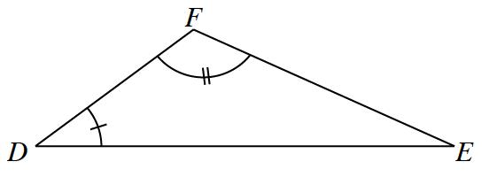 Triangle D, F, E, where angle, D, has 1 tick mark, and angle F, has 2 tick marks.