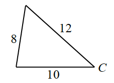 Triangle labeled as follows: left side, 8, right side, 12, bottom side, 10, right bottom vertex, c.