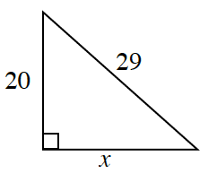 Right triangle labeled as follows: vertical leg, 20, horizontal leg, x, hypotenuse, 29.