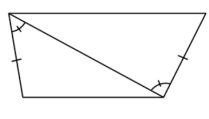 Two triangles with a shared side showing the alternate interior angles are the same. The other adjacent side to that angle has 1 tick mark on both triangles.