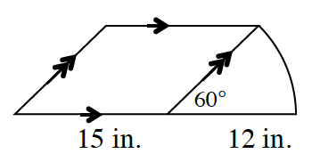 A right slanted, Parallelogram, bottom side labeled, 15 inches, attached on its right side is a sector, whose bottom side, labeled 12 inches, is an extension, of the bottom side of the parallelogram, with angle labeled  60 degrees.