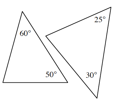 Two triangles.  The first triangle has angles labeled 60 degrees and 50 degrees.  The second triangle has angles labeled 25 degrees and 30 degrees.
