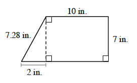 The figure is a rectangle with a right triangle connected at the left side. The length of the rectangle is 10 inches and the width is 7 inches. The triangle's hypotenuse is 7.28 inches and the base is 2 inches.