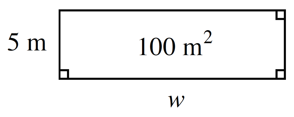 A rectangle with interior labeled 100 square meters, with length labeled, w, and width labeled, 5 meters.