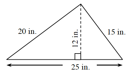 A triangle with a base of 25 inches, left side, 20 in, and right side, 15 inches.  Two internal triangles are created by a line segment, of 12 in, drawn from the upper vertex, to the base, at right angles.