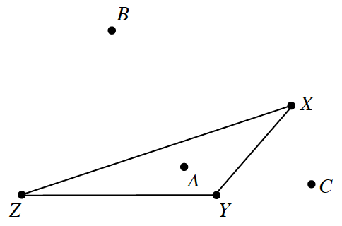 Triangle, X,Y,Z, with angle Y, obtuse, side, ZY, horizontal, & angle, Z, left of angle, y. Point labeled, A, inside triangle, slightly to the left of point, y. Point B, outside & above triangle, closer horizontally to Z, than to x. Point C, outside & right of the triangle, slightly above, y, & right of, x.
