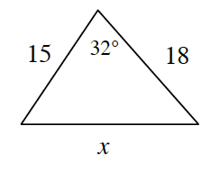 A triangle with side lengths 15 on left side, X on bottom side, and 18 on right side. The angle opposite side, x, is 32 degrees.