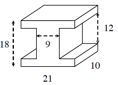 A prism where the base looks like a capital letter, I, and the height is 10. The total height of the letter, I, is 18 while the space between the bottom and top base is12. the base length at the top and bottom is, 21. The width of the center of the letter, I, is 9. The letter is vertically and horizontally symmetric.