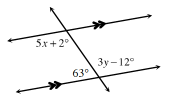 A transversal line,  cuts two horizontal parallel lines. About the point of intersection, of the top parallel line, and the transversal line is the interior, left angle, 5 X, +, 2, degrees. About the point of intersection, of the bottom parallel line, and the transversal line, are the interior left angle, 63 degrees, and the interior right angle, 3 Y, minus, 12 degrees.