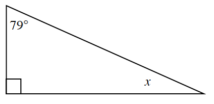 A right triangle with angles 90 degrees, 79 degrees, and x.